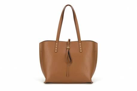 Klasyczna torebka shopper damska A4 skórzana Vera Pelle czarna na ramię