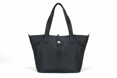 Torebka shopper włoska skórzana torba A4 na ramię czarna