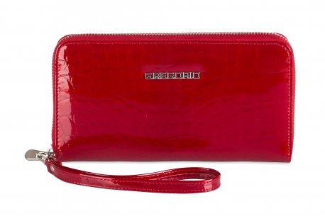 Duży lakierowany portfel damski piórnik skóra GR3