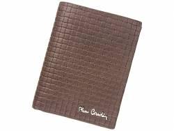 Skórzany brązowy męski portfel Pierre Cardin