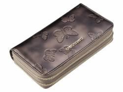 Skórzany damski portfel podwójny suwak piórnik