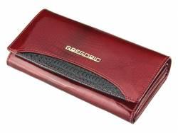Skórzany klasyczny damski portfel czerwony