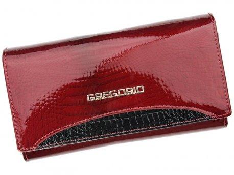 Skórzany klasyczny damski portfel czerqony