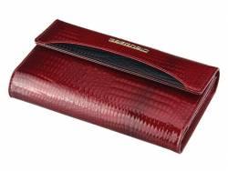 Skórzany klasyczny portfel damski czerwony