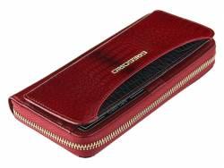 Skórzany damski portfel piórnik czerwony