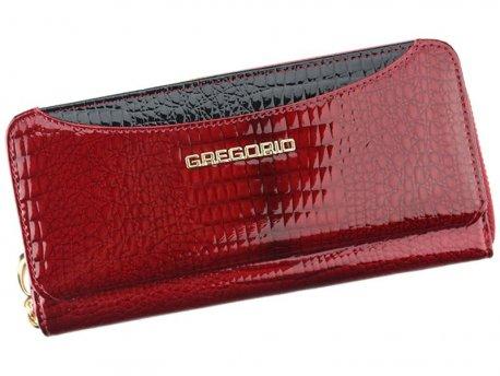 Skórzany danmski portfel piórnik czerwony