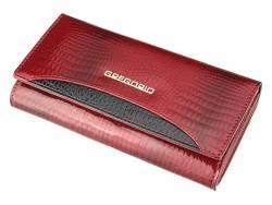 Klasyczny duży portfel damski czerwony lakier skóra
