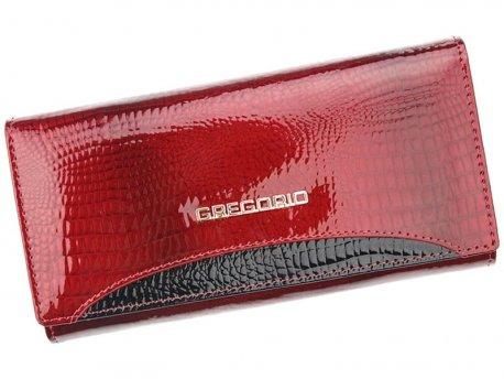 Klasyczny duży portfel damski czerwonby lakier skóra