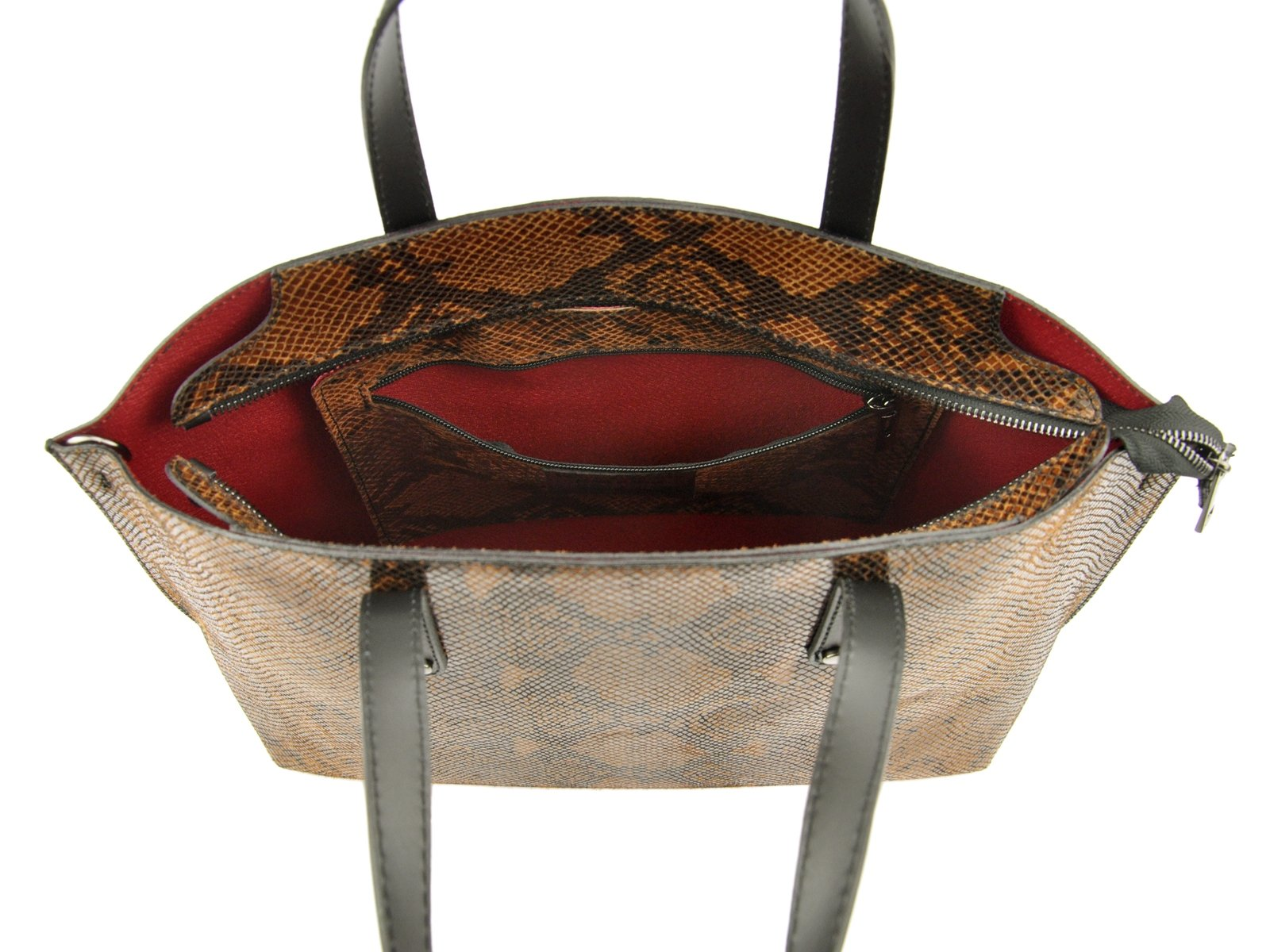 Skórzana torebka A4 skóra wąż