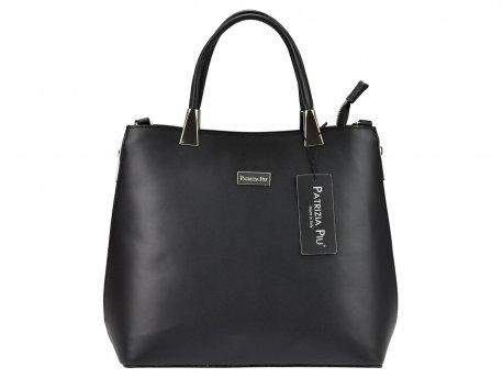 Skórzana klasyczna torebka damska shopper czarna