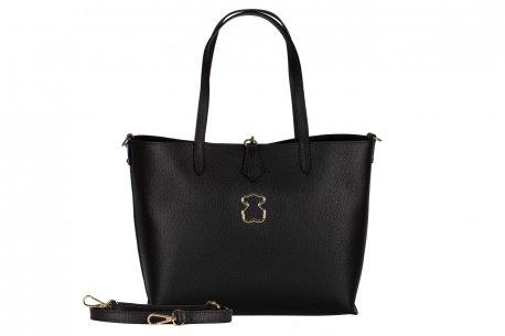 Skórzana czarna torebka damska A4 shopper bag