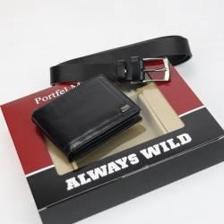 Zestaw na prezent Rovicky skórzany męski portfel i pasek