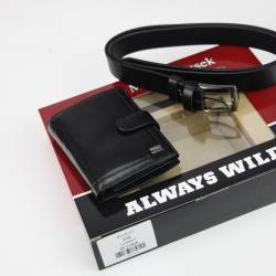 Zestaw na prezent Rovicky skórzany pionowy męski portfel i pasek
