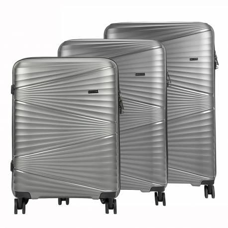 Zestaw walizek podróżnych kabinowych 3w1 lakierowanych